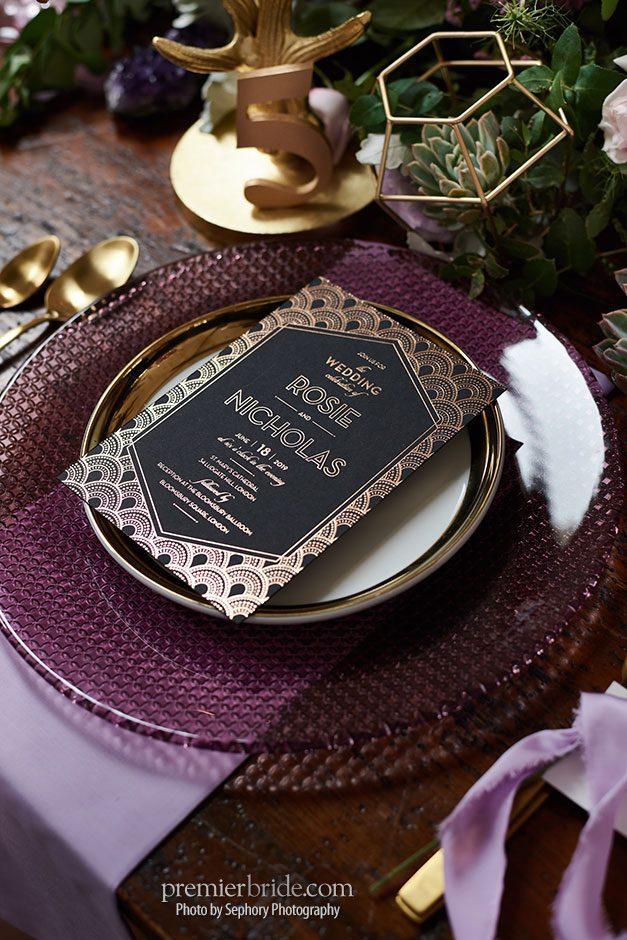 black, gold and purple wedding invitation   Premier Bride