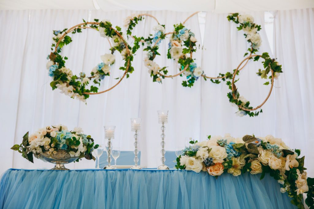 floral wreaths and hanging flowers