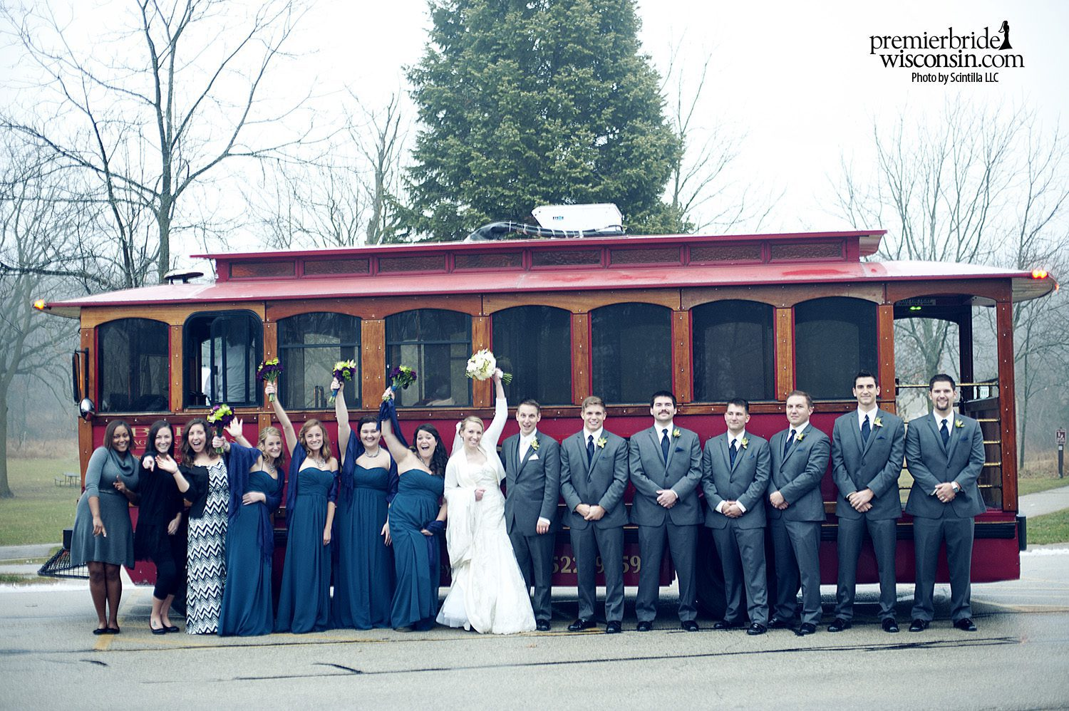 wedding transportation by trolley