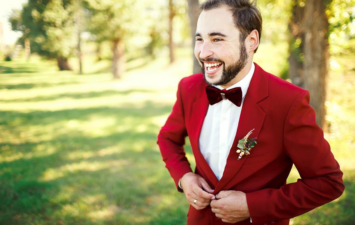 Groom in Red Jacket