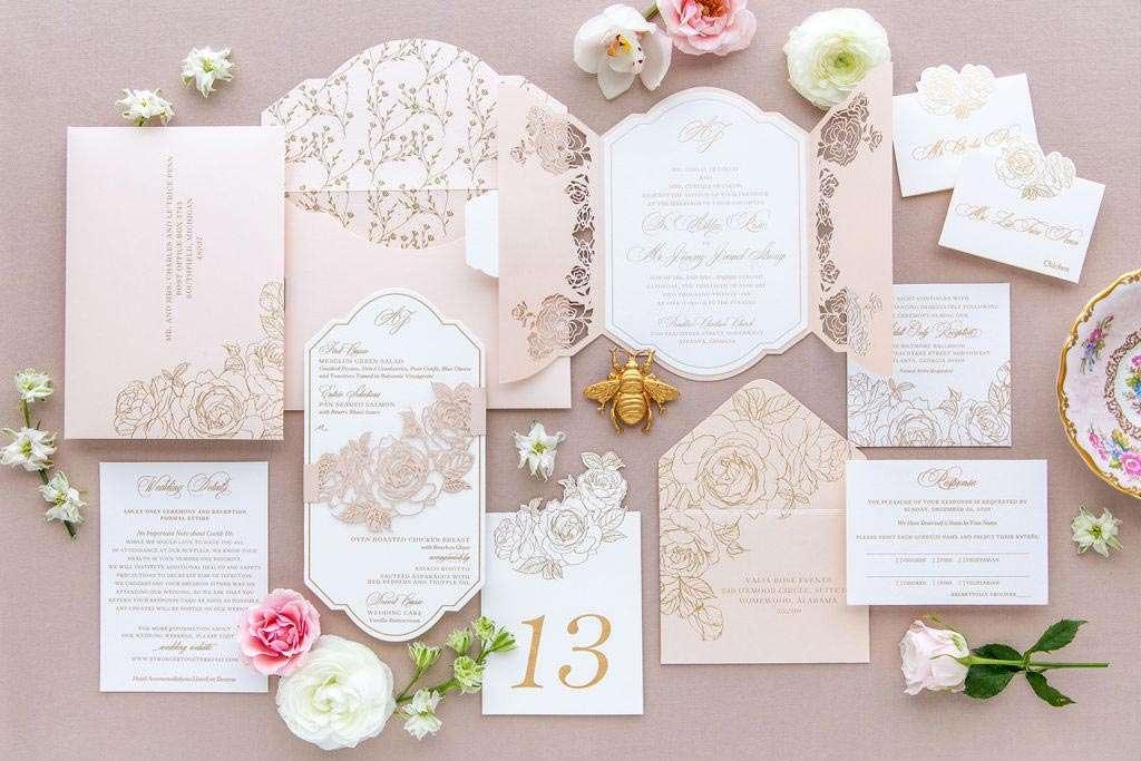 Rose Colored Wedding Invitations